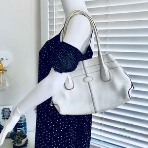 Authentic TOD's Small White D-Bag Leather Tote